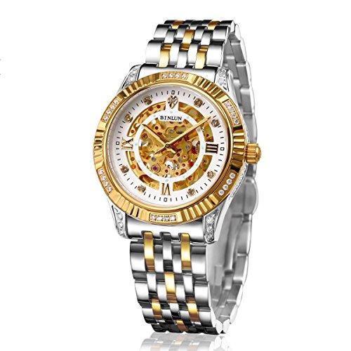 BNLUN Gents Two Tone 18k Gold Plated Watch Diamond Visible Gear Skeleton Automatic Mechanic Watch by BINLUN