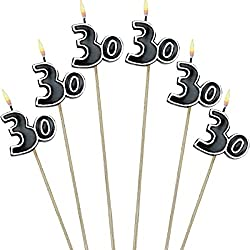 "Amscan The Party Continuous 30th Birthday Party Molded Candle on a Stick Decoration, Pack of 6, Multi , 9 1/2"" Wax, stick"
