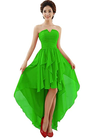 Vimans® Womens Sexy High Low Green Strapless Chiffon Graduation Prom Dress