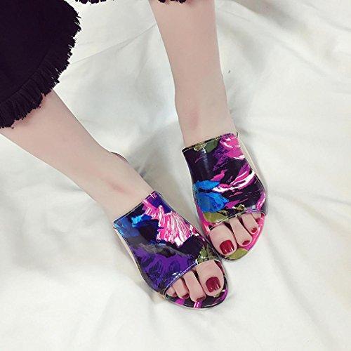 IGEMY Mode Strass Dicke Heels Slipper Frauen Sandalen Party Flip Flop Schuhe Mehrfarbig