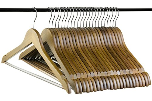 Neaties Bamboo Walnut Wood Hangers with Notches and Non-Slip Bar, 24pk by Neaties (Image #1)