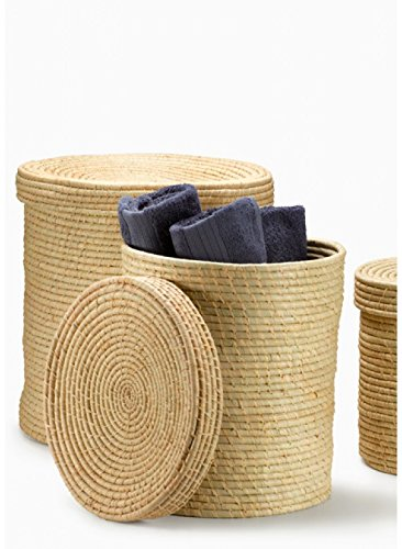 Natural Raffia Baskets with Lid (16in D x 17in H)