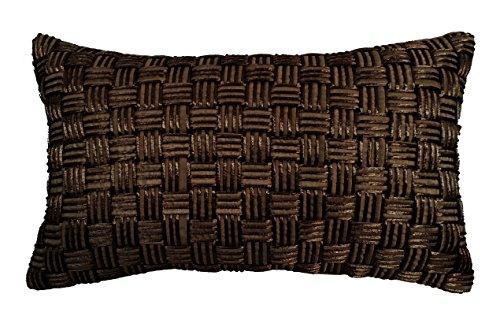 RM43 R M Industries dba Edie Basketweave Pillow, Medium, Black