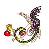 ptk12 Chic Clothing Dress Scarf Pin Fashion Jewelry Rose Gold-Color Phoenix Crystal Brooches Bird Animal