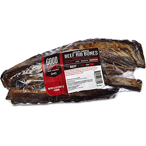 Good Lovin' Hickory Smoked Beef Rib Bone Dog Chews, Pack of 4, 1.3 LBS