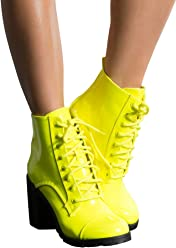 e6f711ee174f6b AKIRA Women's Neon Faux Patent Lace Up Lug Sole Chunky Heel Ankle Booties