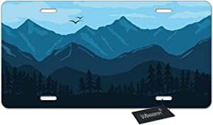 WONDERTIFY License Plate Smoky Mountain Landscape Morning in The Mountains Forest Blue Decorative Car Front License Plate,Vanity Tag,Metal Car Plate,Aluminum Novelty License Plate,6 X 12 Inch
