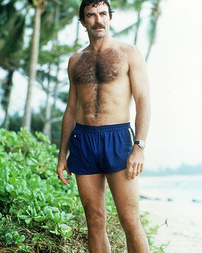 Tom Selleck 16x20 Poster beefcake pin up in blue shorts bare chest