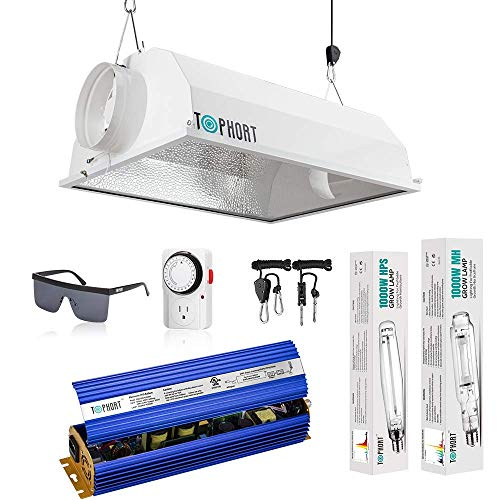 TOPHORT-Upgrade 1000 Watt HPS MH Electronic Dimmable Grow Light System Kits Air Cooled Reflector Hood Set-Easy to Set Up ()