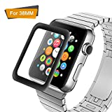 Amoner 3D Full Coverage Screen Protector for 38mm Apple Watch, Tempered Glass, Anti-Scratch, Bubble-Free for iWatch 38mm with Series 1/ 2/ 3 (1Piece in Pack)