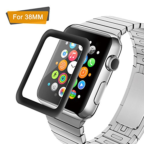 Amoner 3D Full Coverage Screen Protector for 38mm Apple Watch, Tempered Glass, Anti-Scratch, Bubble-Free for iWatch 38mm with Series 1/ 2/ 3 (1Piece in Pack) (Bubble 3d)