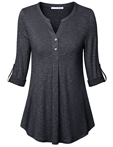 - Messic Women Blouse,Women's Boutique Cuffed Sleeve Essential Loose Fitting Garment Flare Hem Smooth Woven Tunic Carbon Black,Large