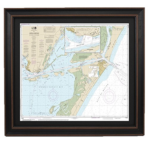 PatriotGearCompany : Framed Nautical Chart; NOAA 11312- Corpus Christi Bay; Port Aransas to Post ()