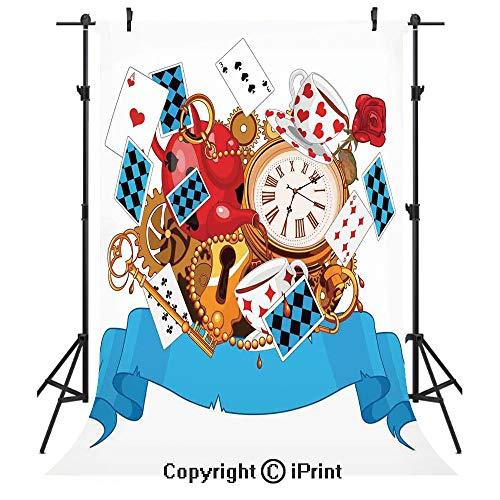 Alice in Wonderland Photography Backdrops,Mad Design of Cards Clocks Tea Pots Keys Flowers Fantasy World Illustration Decorative,Birthday Party Seamless Photo Studio Booth Background Banner 6x9ft,Mult