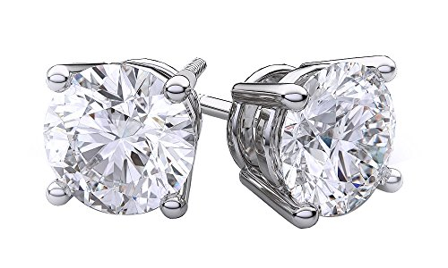 Round Brilliant Cut Natural Diamond Stud Earrings In 14K Solid White Gold (.40 Ct)