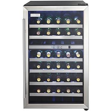 Danby DWC114BLSDD Designer 38-Bottle Dual-Zone Wine Cooler, Black/Stainless Steel/Glass Beverage Center,