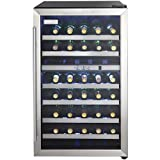 Danby DWC114BLSDD Designer 38-Bottle Dual-Zone Wine Cooler, Black/Stainless Steel/Glass Beverage Center,
