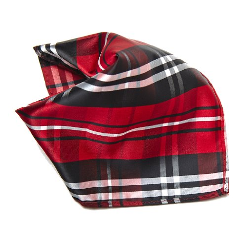 Black Red White Plaid Design Mens Hankerchief Pocket Square Hanky