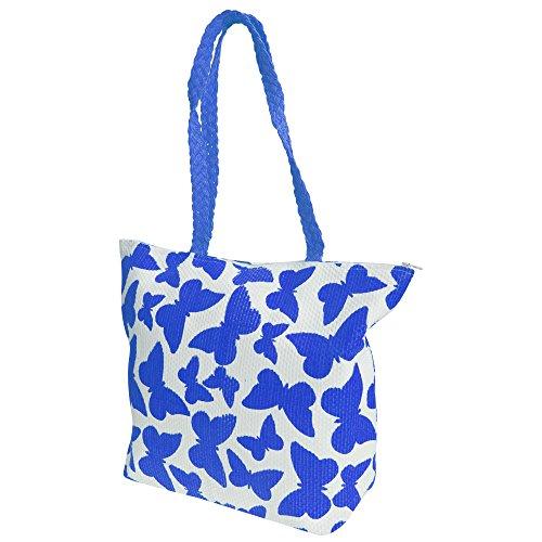 Straw Top Woven Print Butterfly Fuchsia FLOSO® Handle Handbag Ladies White Womens TYqESE