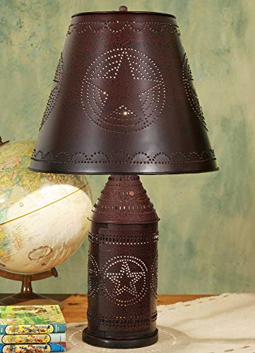 Country Punched Tin (Paul Revere 4-Way Lamp with Punched Star Shade in Crackle Black)