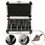 Hakkin 5PCS Large High Speed Steel Cobalt Multiple Hole 50 Sizes Step Drill Bit Set for Cutting Holes in Steel, Aluminum, Copper, Stainless Steel, Brass, Plexiglass, Wood and Laminates