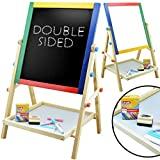 Evelyn Living 2 in 1 Kids Wooden Double Sided Art Easel Stand Chalk Chalkboard Magnetic Writing Board