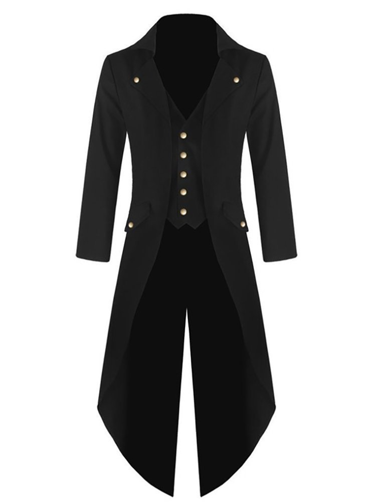 Makkrom Mens Long Sleeve Button Down Gothic Swallow-Tailed Coat Windbreaker Jacket