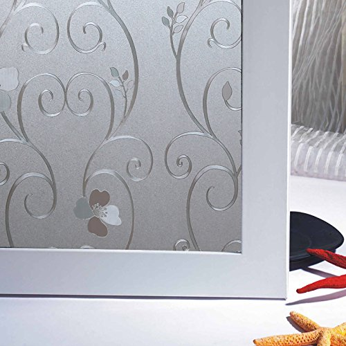 Bloss 3D Static Cling Window Film Decorative Iron Flower Window Covering Film for Home, Office 17.7inch x 78.7 inch, 1 Roll (Perfect Tint Protection Moisture)