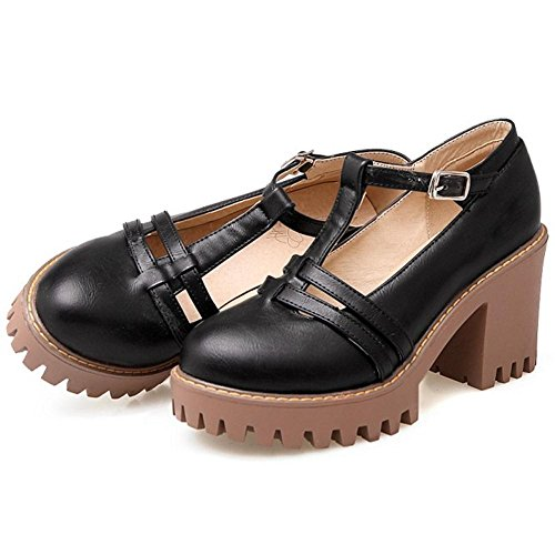 Block Shoes Heel Black COOLCEPT Court Women Bqx5PnCwOa