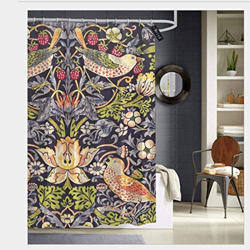 Morris Round William Art - SZZWY William Morris Art Nouveau Painting Shower Curtain 3D Printing Waterproof Coated Polyester Fabric Bathroom with 12 Hooks 71 inches