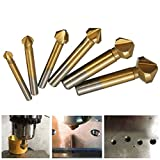 Tonsiki 6 PCS 90 Degree 3 Flute HSS Countersink Cutter Titanium Nitride Coated Chamfer Cutter End Mill Drill Bits Cutting Tool Set