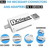 2017 Best Flash Drive for iPhone 64 GB USB 3.0 for iPad, iOS PC - External Storage Memory Stick with Lightning Connector + SD – Free SD Card Included