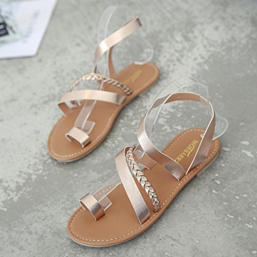 IGEMY Women Summer Strappy Gladiator Low Flat Heel Flip Flops Beach Sandals Shoes Rose Gold nSWusLE6a