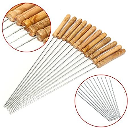 Futurekart Skewers For Tandoor Barbeque Grill BBQ Steel Needles 12 Inches Set Of 12