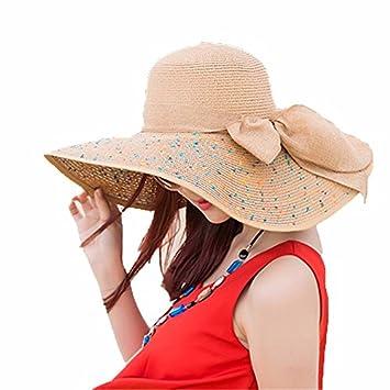 LOF-fei Mujer Verano Sombrero de Sol protección UV Gorros Plegable Sombrero  de Paja de ala Ancha Playa al Aire Libre Disquete 12ab687b50c