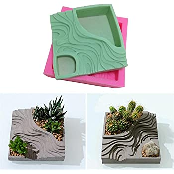 Succulent Plant Flower Pot Silicone Mold Gypsum Cement Fleshy Flower Bonsai DIY Ashtray Candle Holder Mould for Indoor Outdoor Home Decor