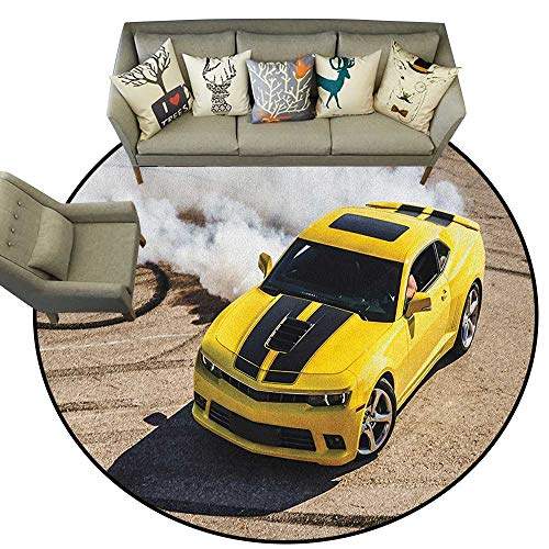Manly,Round Rug Yellow Sports Car Drifting Photography Smoke Fast Speed Competition Picture D40 Baby Room Decor Round Carpets