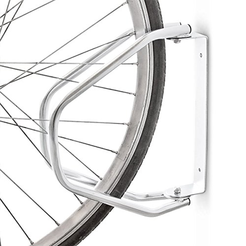 Relaxdays Fahrradständer Wandhalterung aus Metall für alle Fahrräder zur Wandmontage als robuster drehbarer Fahrradhalter aus massivem, verzinkten Stahl HBT: ca. 32,5 x 9 x 28,5 cm, Silber