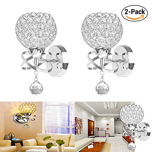 Luxury Crystal Lamp (DDSKY Crystal Wall lights Modern Luxury Crystal Wall Sconce Polished Chrome Finish Wall Sconce Lighting Fixuture with E14 Scoket (Silver 2 Pack))