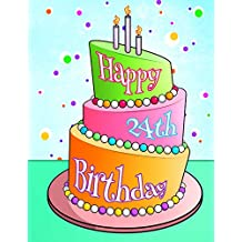 """Happy 24th Birthday: Birthday Cake with Candles Themed Book, Use As a Notebook, Journal, or Diary...105 Lined Pages to Write In, Cute Birthday Gifts for 24 Year Old Women or Men, Sister or Brother, Daughter or Son, Granddaughter or Grandson, Best Friend, 8 1/2"""" x 11"""""""