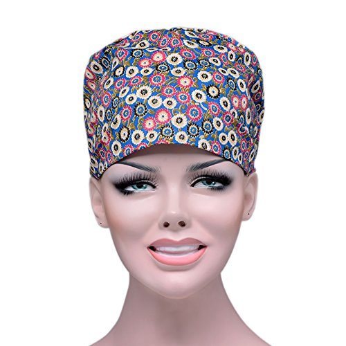 Price Piece Opromo Surgical Scrub Cap With Adjustable Tie Doctor Nurse Cap Surgery Hat Bluefloral