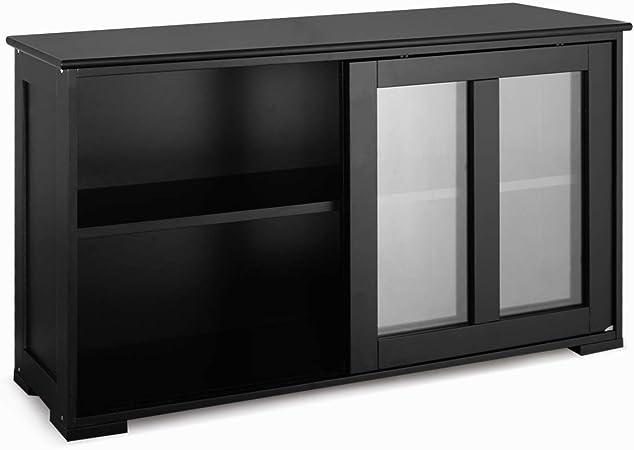 Armoire de rangement en bois blanc avec portes noires