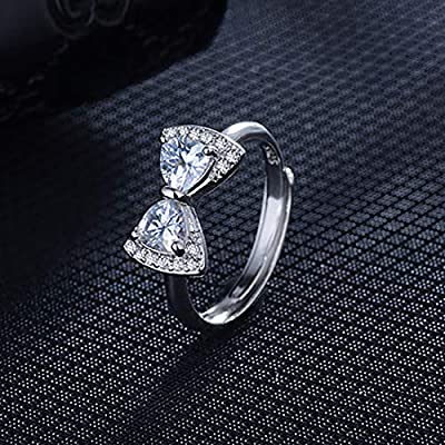 KWUNCCI CZ Rhinestone Cute Bowknot Band Rings with Platinum Plated Eternity Engagement Promise Rings Adjustable for Girls Women, Graduation Gifts