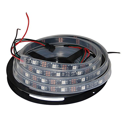 HKBAYI 16.4ft 5M Flex 150pixels Individually Addressable WS2812B 5050 SMD Built in WS2811 IC Dream Color LED Strip Light silicone sleeve Waterproof Ip67 (PCB Black)