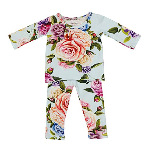 Two Piece Baby Pajamas Set - Loungewear Buttery Soft & Breathable Viscose from Bamboo - Premium Knit Baby Girl Clothes (6T, Country Rose) ()