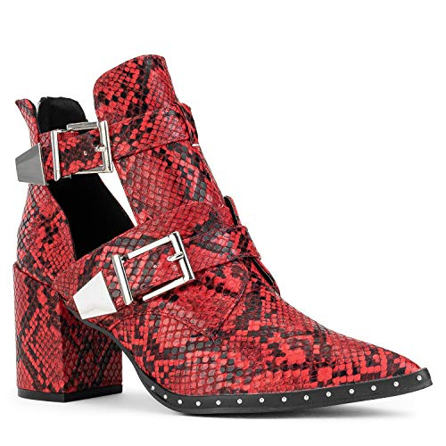 RF ROOM OF FASHION Women's Pointy Toe Cutout Double Buckle Stacked Heel Ankle Boots RED Black Snake Size.9