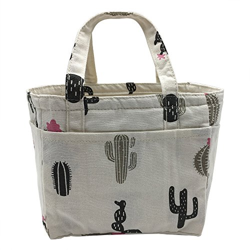 - Insulated Lunch Bag Reusable Sling Shoulder Lunch Tote Travel Picnic Drawstring Bento Cooler Bag, Front Pocket and 2 Side Pockets (Black Cactus)