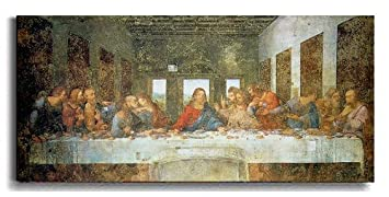 Artistic Home Gallery Last Supper by Da Vinci Premium Stretched Canvas Religious Wall Art One 48x24in Hand-Stretched Canvas