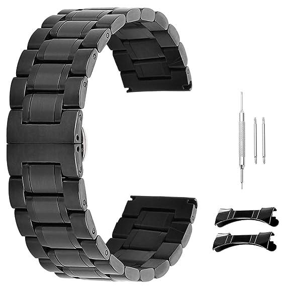 reemplazo de Acero Inoxidable de 21 mm Correas de Reloj de 12 mm 14-20 mm 22 mm 23 mm 24 mm con Extremo Curvado Recta Negro: Amazon.es: Relojes