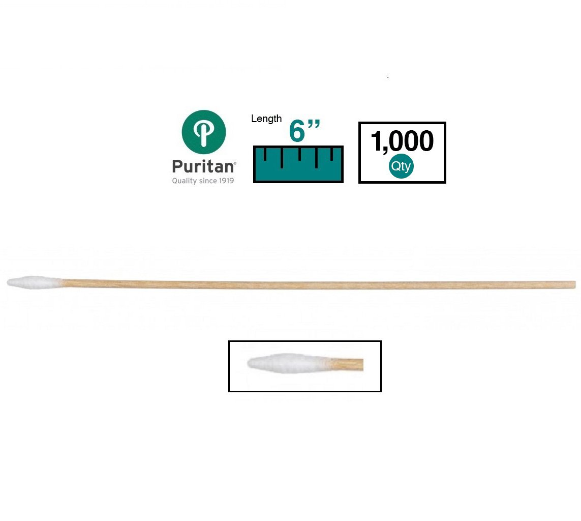 Puritan Medical 6'' Tapered Mini Cotton Swab w/Wooden Handle - 826-WC (Box of 1000) by Puritan